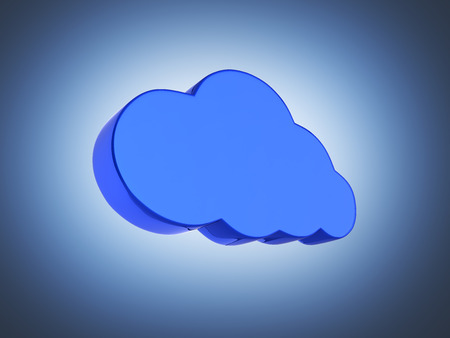 Cloud sign illustration in blue isolated on dark blue gradient background 3d