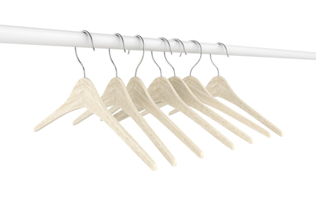 Wooden clothes hangers illustration of Classic Clothes Hanger isolated on white 3d Stock Photo
