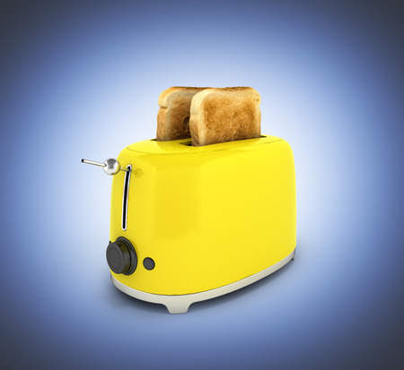 Toaster with toasted bread on dark blue gradient background Kitchen equipment Close up 3d