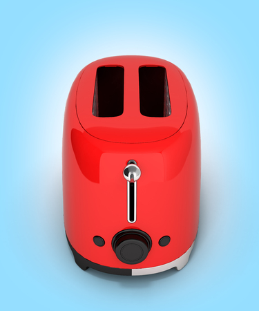 Red retro toaster on blue gradient background 3d Stock Photo