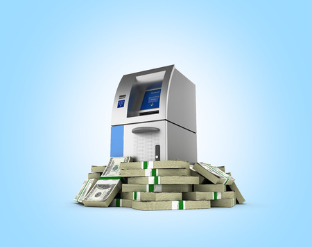 ATM surrounded by 100 dollar bankrolls Bank Cash Machine in pile of money american dollar bills isolated on blue gradient background 3d Stock Photo
