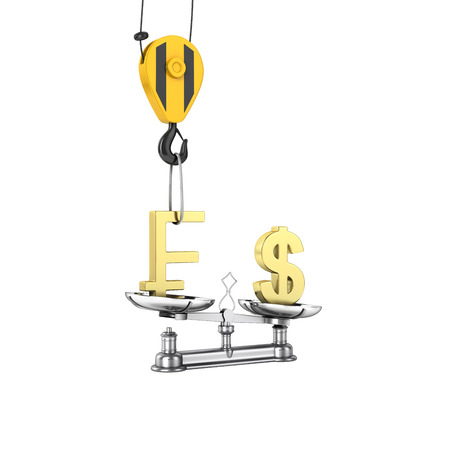 scale of justice: Concept of exchange rate support dollar vs euro The crane pulls the swiss frank up and lowers the dollar on white background without shadow 3d