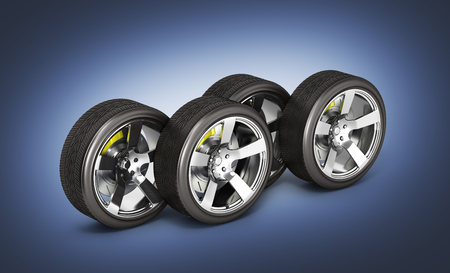Car wheels with brake isolated on dark blue gradient background 3d