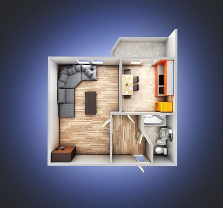 drawing room: interior apartment roofless top view apartment layout on blue gradient background 3d render
