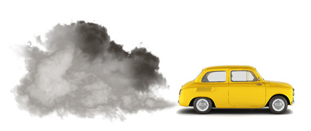 illustration of pollution by exhaust gases the car releases a lot of smoke 3d render 版權商用圖片
