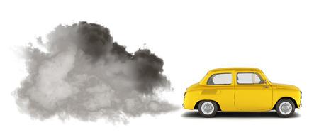 Ilustración de la contaminación por los gases de escape El coche libera una gran cantidad de humo 3d render