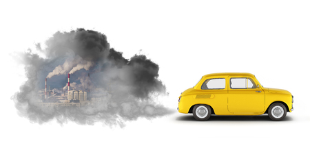 concept of pollution by exhaust gases the car releases a lot of smoke on white background 3d render Stock Photo