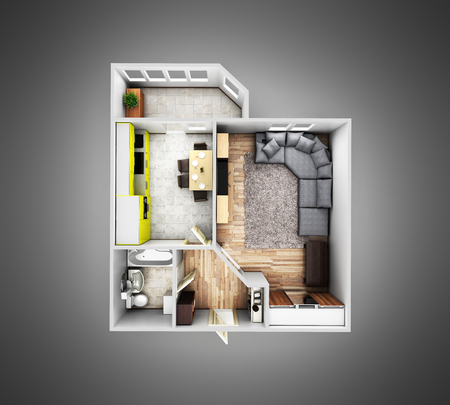 bathroom interior: interior apartment roofless top view apartment layout on grey gradient background 3d render