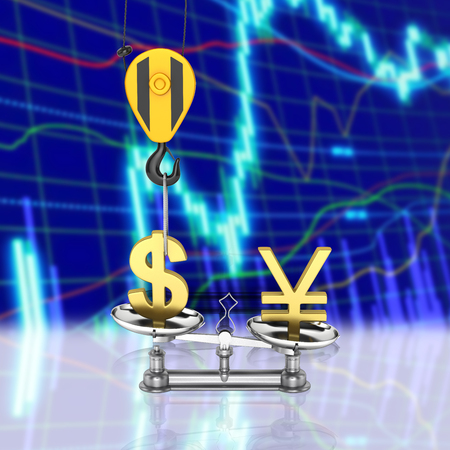 Concept of exchange rate support dollar vs yen The crane pulls the dollar up and lowers the yen sterling on stock exchange background 3d