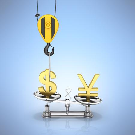 為替レート サポート ドル クレーン引き出しのドル対円アップし、反射で青のグラデーション背景に円を削減の概念 3 d 写真素材