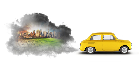 concept of pollution by exhaust gases the car releases a lot of smoke 3d render