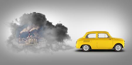 concept de pollution par les gaz d'échappement la voiture libère beaucoup de fumée sur fond dégradé gris rendu 3d