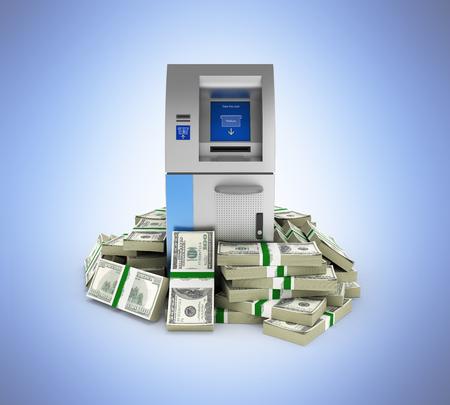 100 ドルに囲まれた ATM bankrolls 青のグラデーションに分離されてお金アメリカのドル札の山で現金自動支払機銀行 3 d の背景 写真素材
