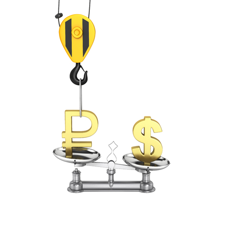 Concept of exchange rate support dollar vs ruble The crane pulls the ruble up and lowers the dollar on white background 3d without shadow