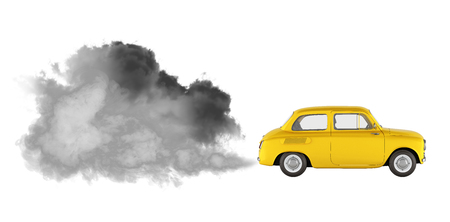 concept of pollution by exhaust gases the car releases a lot of smoke on white background without shadow 3d render