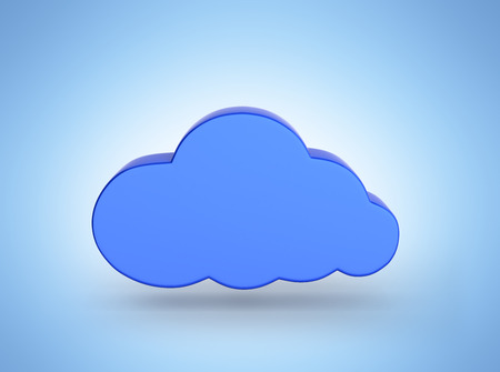 Cloud sign illustration in blue isolated on blue gradient background 3d