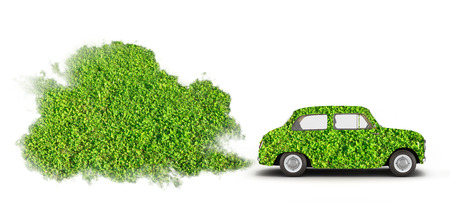 concept of pollution by exhaust gases the ecologically pure car releases a lot of smoke on white background 3d render