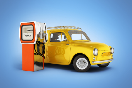 retro car standing at the gas station car refueling illustration on blue gradient background 3d