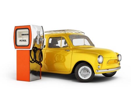 retro car standing at the gas station car refueling illustration on white background 3d