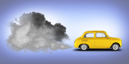 illustration of pollution by exhaust gases the car releases a lot of smoke on blue gradient background 3d render