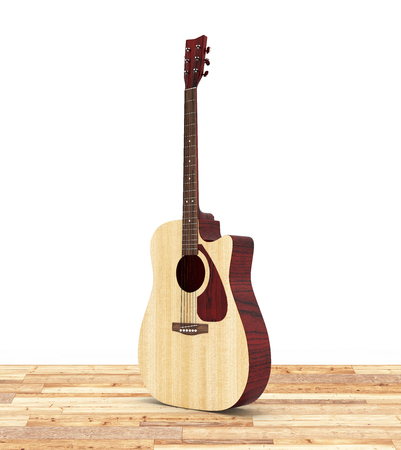 Acoustic guitar on wood floor and white background 3d