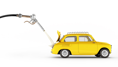 fuel cost concept retro car is refueled on white background 3d illustration Stock Illustration - 88123131