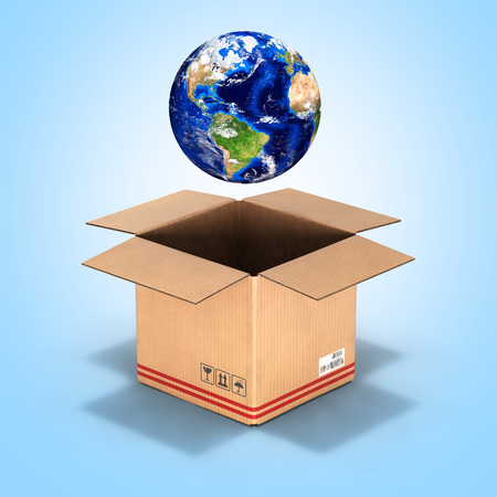 package sending: Earth in a cardboard box on blue gradient background 3d