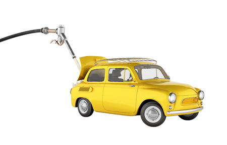 fuel cost concept retro car is refueled on white background without shadow 3d illustration Stock Photo