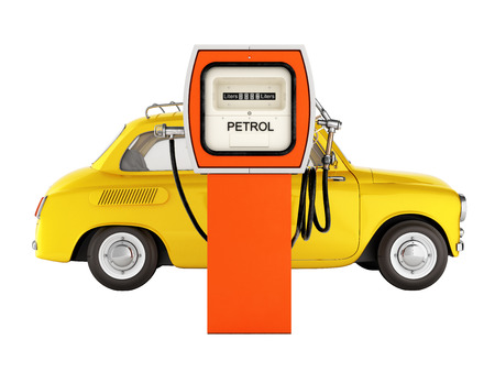 retro car standing at the gas station car refueling illustration on white background without shadow 3d Stock Illustration - 88135930