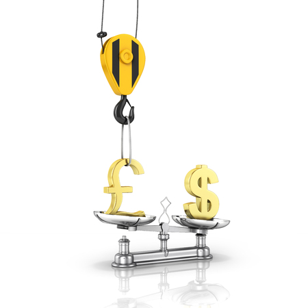 Concept of exchange rate support dollar vs pound The crane pulls the pound up and lowers the dollar on white background with reflection 3d