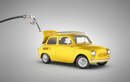 fuel cost concept retro car is refueled on grey gradient background without shadow 3d illustration