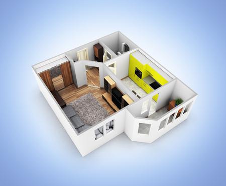 Disposizione appartamento senza tetto vista appartamento vista prospettica senza ombra su sfondo blu sfumato 3d rendering Archivio Fotografico - 88135955