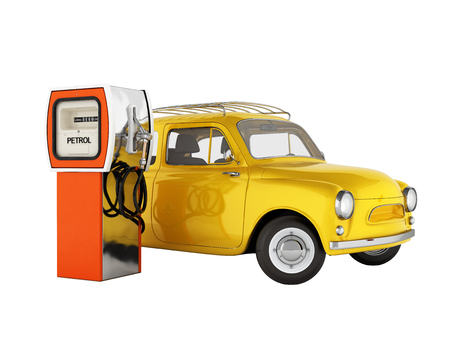 retro car standing at the gas station car refueling illustration on white background without shadow 3d