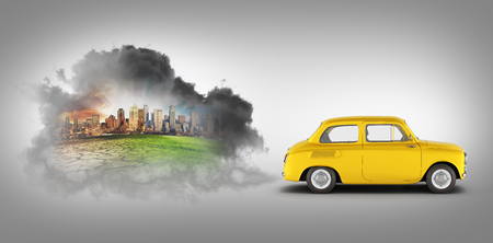 concept of pollution by exhaust gases the car releases a lot of on black gradient background smoke 3d render