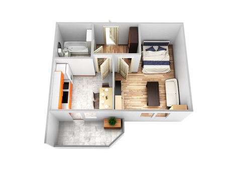 Interior Apartment Roofless Top View Apartment Layout Without Sahdow On  White Background 3d Render