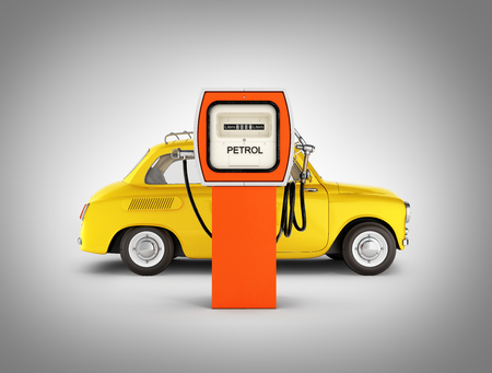 retro car standing at the gas station car refueling illustration on grey gradient background 3d Stock Photo