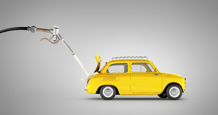 fuel cost concept retro car is refueled on grey gradient background 3d illustration Stock Photo