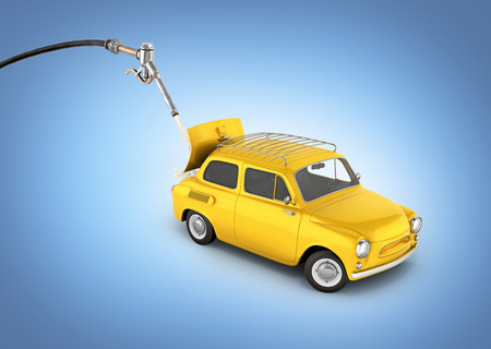 fuel cost concept retro car is refueled on blue gradient background 3d illustration