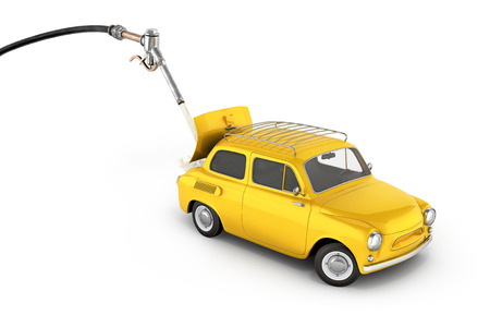 fuel cost concept retro car is refueled on white background 3d illustration