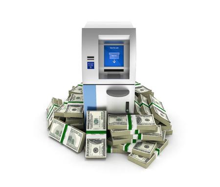 100 ドルに囲まれた ATM bankrolls お金アメリカのドル紙幣は、白で隔離の山で現金自動支払機銀行 3 d の背景