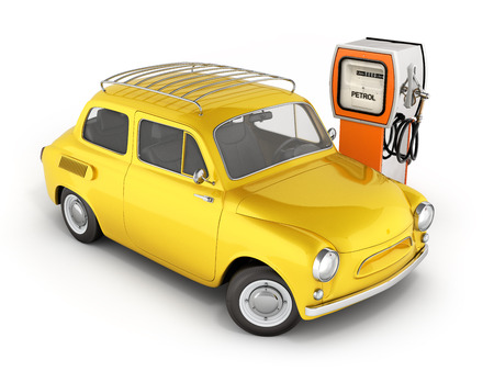 retro car standing at the gas station car refueling illustration on white background 3d Stock Illustration - 90103809