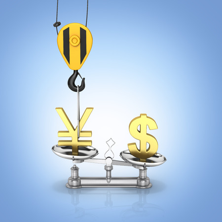 Concept of exchange rate support yen vs dollar The crane pulls the yen up and lowers the dollar sterling on blue gradient background 3d Stock Photo