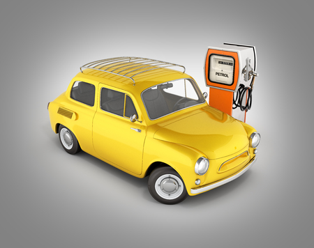 retro car standing at the gas station car refueling illustration without shadow on grey gradient background 3d