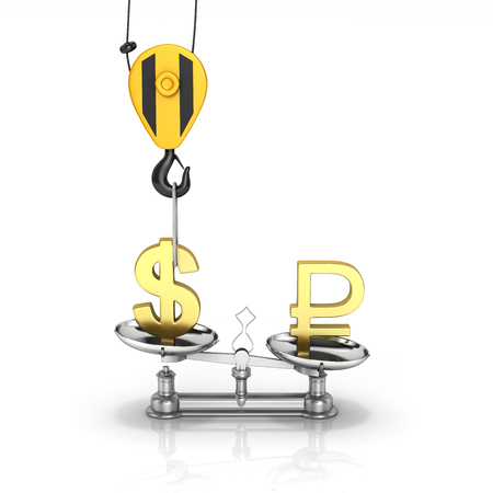 Concept of exchange rate support dollar vs ruble The crane pulls the dollar up and lowers the ruble on white background 3d
