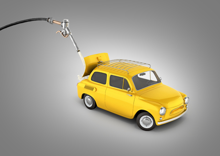 fuel cost concept retro car is refueled on grey gradient background 3d illustration