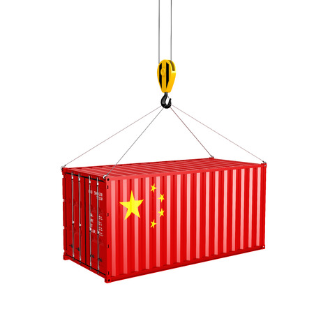 Cargo shipping container with the Chinese flag Ð¡oncept of delivery from China on white background 3d