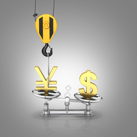 Concept of exchange rate support yen vs dollar The crane pulls the yen up and lowers the dollar sterling on grey gradient background 3d