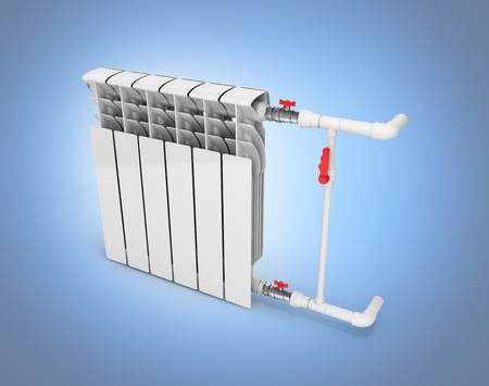 Heating white radiator without shadow isolated on blue gradient background 3d