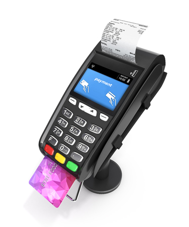 El terminal de la posición terminal del pago con tarjeta con la tarjeta de crédito y el recibo aislados en el fondo blanco 3d rinde