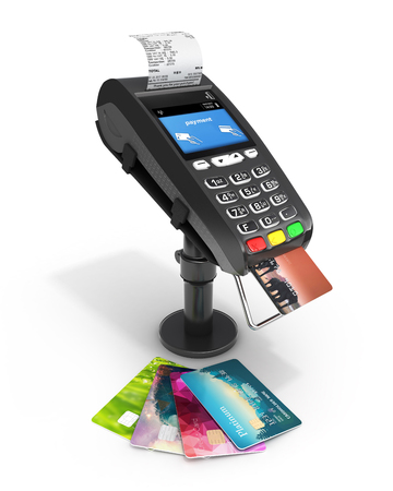 card payment terminal POS terminal with credit cards and receipt isolated on white background 3d render